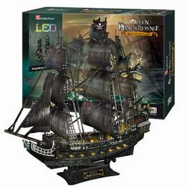 Puzzle 3D LED Pirátská loď The Queen Anne's Revenge