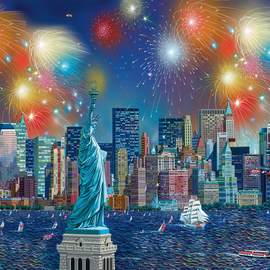 Puzzle 1000 Statue of Liberty with fireworks