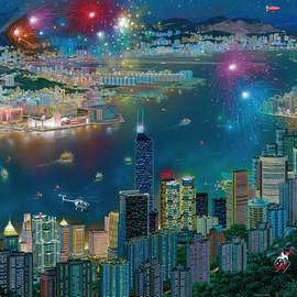 Puzzle 1000 Fireworks over Hong Kong
